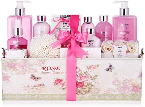 BRUBAKER Cosmetics Set de Baño y DuchaClassic Rose - Fragancia de Rosas - Set de Regalo de Belleza de 17 piezas en Caja de Regalo Vintage