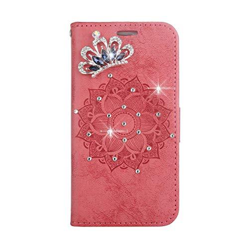 Bear Village® Leder LG G4 Hülle, Leder Tasche mit Magnetverschluss und Kartenfach, Glitzer Geprägte Schutzhülle für LG G4, Rot