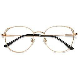 SOJOS Brille mit Blaulichtfilter Blockieren Blaue Licht von PC, TV und Handy Katzenauge ohne Sehstärke Computer-Brille SJ5027 She Young mit Rose Gold Rahmen/Anti-Blaulicht Linse