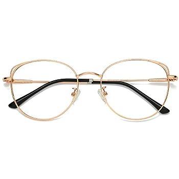 SOJOS Cat Eye Blue Light Blocking Glasses Hipster Metal Frame Women Eyeglasses She Young with Rose Gold Frame/Anti-Blue Light Lens