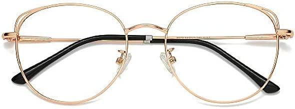 SOJOS Cat Eye Blue Light Blocking Glasses Hipster Metal Frame Women Eyeglasses She Young SJ5027 with Rose Gold Frame/Anti-Blue Light Lens