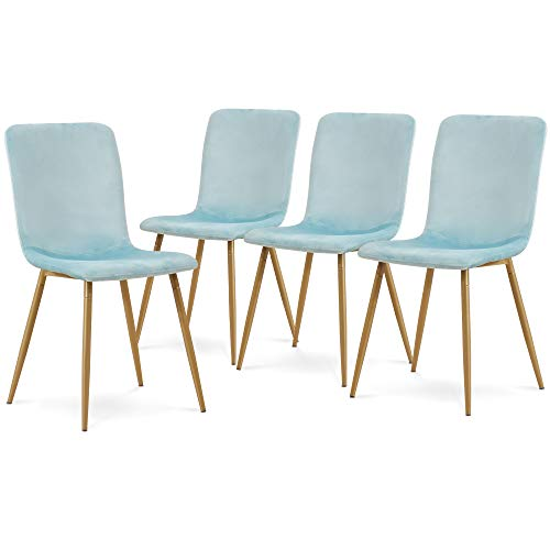Ivinta Modern Living Room Accent Armless Chairs Set of 4 Velvet Dining Chairs Mid Century Upholstered Kitchen Chairs Side Chairs with Metal Legs for Dining Room Living Room Kitchen (Tiffany-Blue)