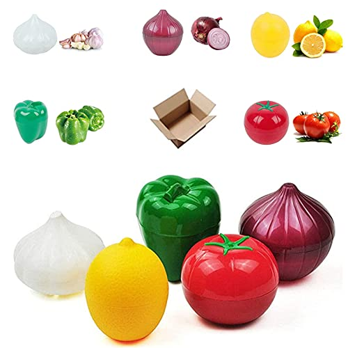 Onion Storage, Fruit Container Refrigerator, Vegetable Storage, Onion, Lemon, Green Pepper, Tomato, Garlic Storage Container, Refrigerator Preservation 5-Piece Set