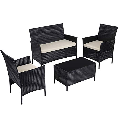 SONGMICS Patio Furniture Set, PE Wicker Outdoor Furniture, for Porch Deck Backyard Outside Use, Black and Beige UGGF002B01