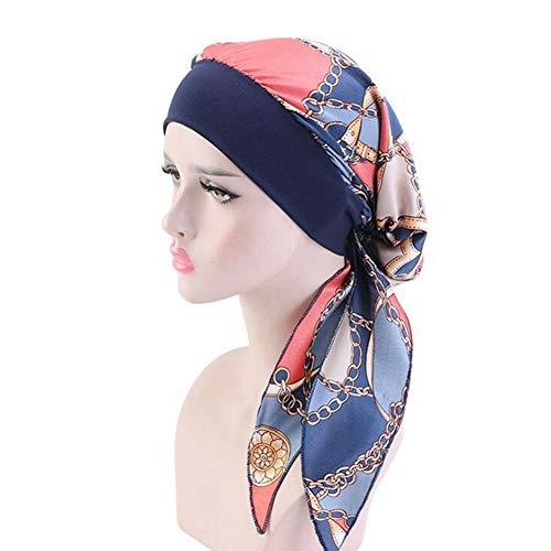 Casue Dames Vintage Silky Turbans Bonnet elastische brede sjaal pre-tid headwear satijn turban bandana voor kreeft hoofdwraps, Donkerblauwe ketting.
