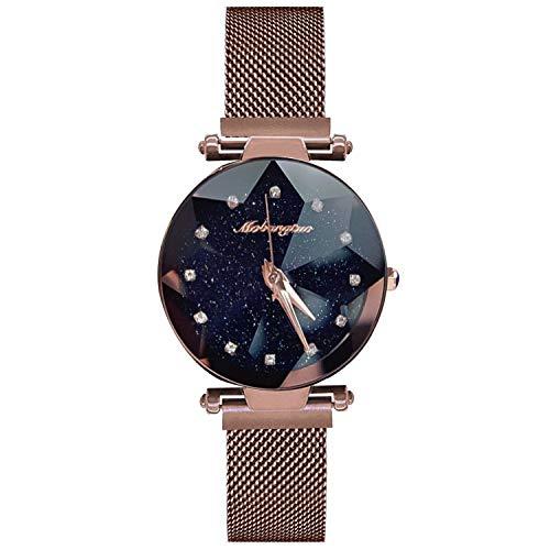 RORIOS Moda Mujer Relojes Impermeable Cuarzo Reloj de Pulsera Diamante Dial Banda de Acero Inoxidable Elegante Vestido Reloj Mujer