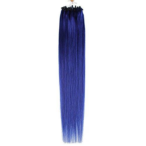Beauty7 100 meche/Couleur Bleu/Extension de Cheveux Humain Micro Loop Ring Beads Bresiliens 6A Grade Cheveux Raides/Droits/Lisse Longueur 20\