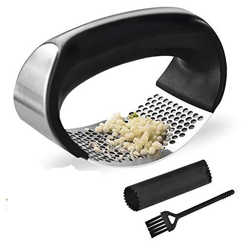 Garlic Press Rocker Stainless Steel Ginger Crusher Squeezer Kitchen Gadget with Ergonomic handle, Silicone Tube Garlic Peeler and Cleaning Brush Tool Set
