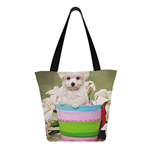 Lindo perrito maltés canasta de pascua de 11 × 7 × 13 pulgadas, lavable a máquina, resistente, bolsas de supermercado de poliéster, reutilizable, plegable, plegable, reutilizable, para