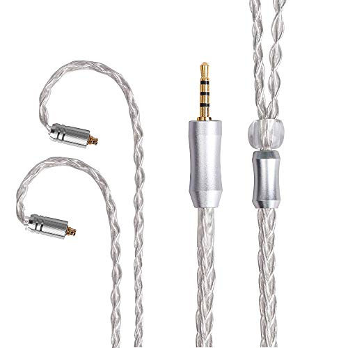 8 Core Balanced Silver Plated Replacement Cable, Audio Jack HiFi MMCX Detachable Earphone Cable Replacement Earphone Wire for Shure 846 535 215 315 425 MAGAOSI K5 LZA4 A5 (MMCX 2.5mm)