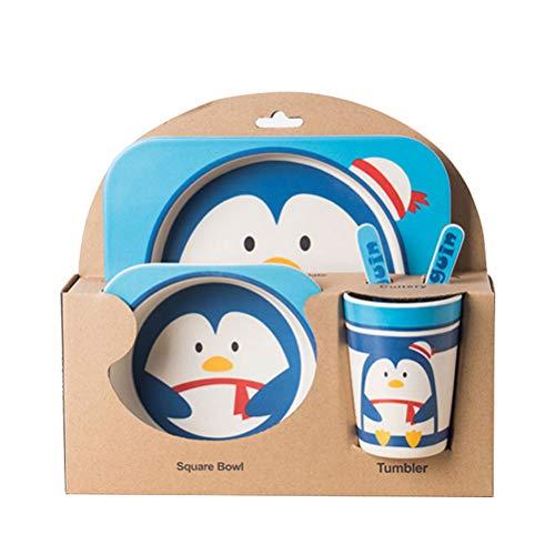 5pcs / Set Vajilla Niños,GZQ,Juegos de vajilla Animal para comer,cubiertos y tazon Fibra de bambú Natural bebé e Infantil (Pinguino)