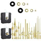 6 pares de mecanismo de reloj de cuarzo silencioso, eje largo y eje corto con batería manual, mecanismo de reloj de pared, piezas de repuesto de motor, piezas de reparación de bricolaje (dorado)