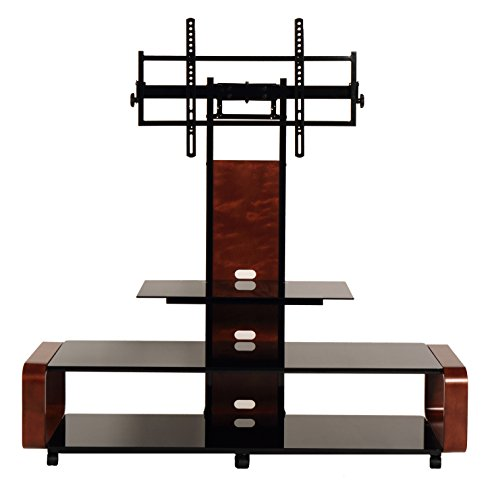 """TransDeco casters 35-85"""" Curved Wood TV Stand with Mount, 60"""" W x 19.7"""" D x 62.1"""" H, Dark Oak/Black"""