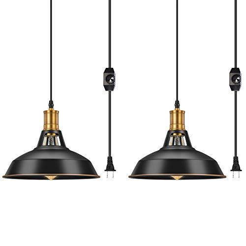 Pynsseu Lámpara de techo industrial con cable de enchufe y interruptor de encendido/apagado, lámpara de techo colgante de metal para cocina Island, comedor, dormitorio o granero, 2 unidades