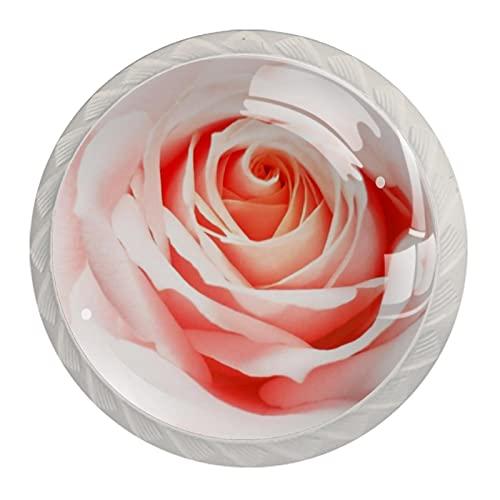 Z&Q Rosa rosada Juego de 4 tiradores modern de Base de Plastico & Cristal, con distintos diseños, ideales para puertas, armarios, cajones y cómodas 35mm
