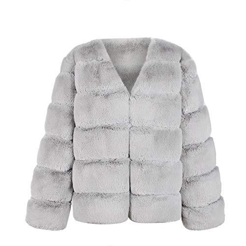 YWLINK Damen Einfarbig Warm Winter Kurzer Langarm Parka Oberbekleidung Kunstpelz Mantel Edel Elegant Outwear Winterjacke (L,Grau)