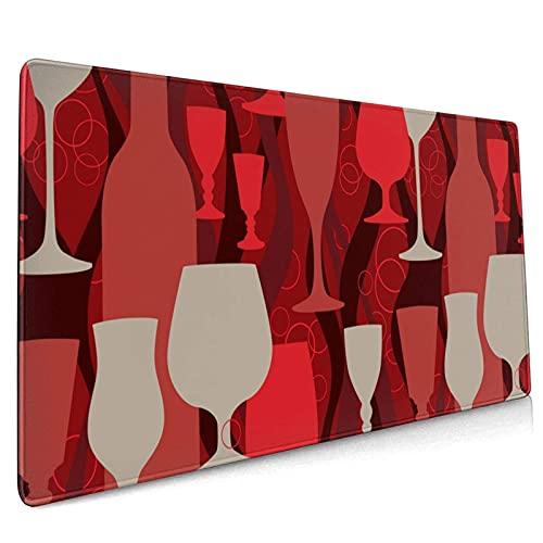 Alfombrilla de ratón grande para juegos de vino tinto con base de goma antideslizante con bordes cosidos, para alfombrilla de escritorio, teclado de ordenador y ordenador portátil