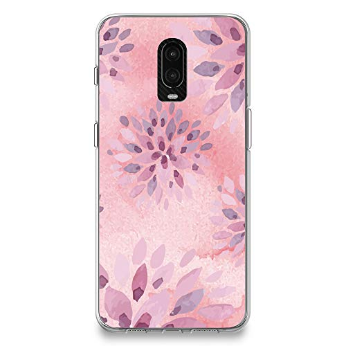 CasesByLorraine OnePlus 6T Case, Watercolor Pink Floral Pattern Case Flexible TPU Soft Gel Protective Cover for OnePlus 6T (P52)