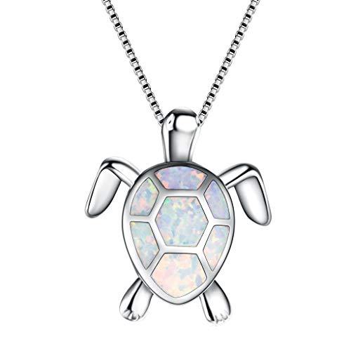 Janly Clearance Sale Collares para mujer, colgantes de tortuga de ópalo, collar de suéter para mujer, regalo de cumpleaños para el día de San Valentín, regalo de Pascua del día de San Patricio (B)