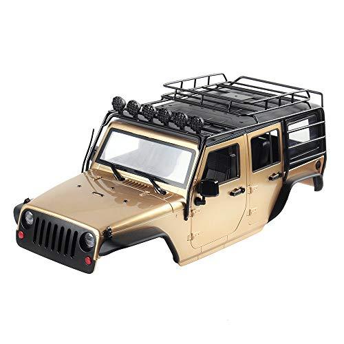 INJORA RC Auto Karosserie 313mm Radstand Jeep Wrangler Rubicon KIT Car Shell mit Metal Dachträger für 1/10 RC Crawler Axial SCX10 90046 (Khaki)