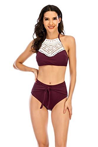 Conjunto de Bikini Mujer de Cintura Alta Traje de Baño de Dos Piezas Tirantes Tankini Bohemio Halter Bikini de Bañadores para Mujer con Top de Cuello Halter y Bragas de Talle Alto,Púrpura,XXL