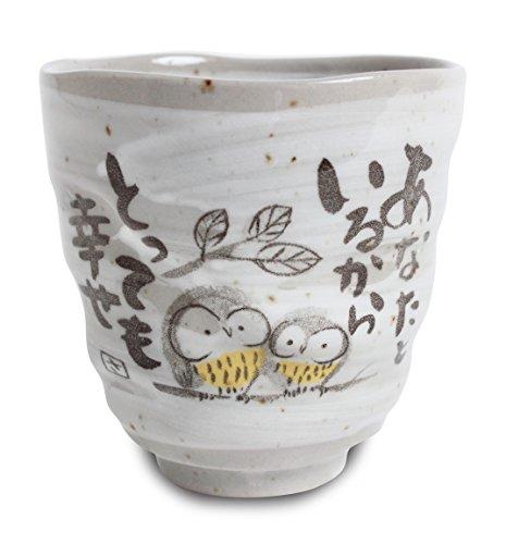 Mino ware Japanische Keramik Yunomi Chawan Teetasse Eule Familie Grau Sanaegama hergestellt in Japan (Japan Import) KSY009