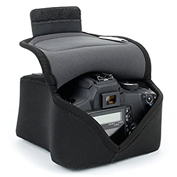 USA GEAR DSLR SLR Camera Sleeve Case  Black  with Neoprene Protection Holster Belt Loop and Accessory Storage - Compatible With Nikon D3400 Canon EOS Rebel SL2 Pentax K-70 and Many More
