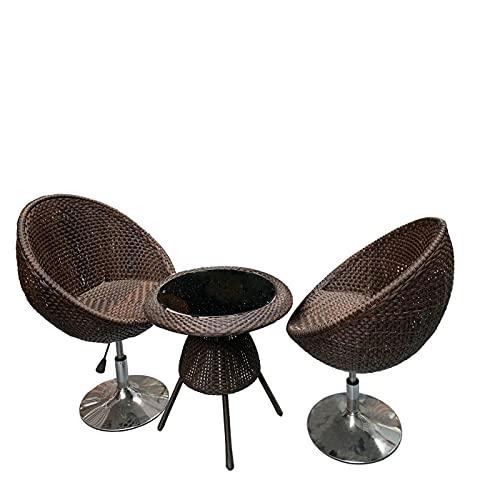 Acan Conjunto de Mesa y 2 sillones de Mimbre para Exterior o Interior. Pack Mesa y sillones, butacas de jardín, terraza, Patio, balcón, Muebles mobiliario Aire Libre (Marrón)