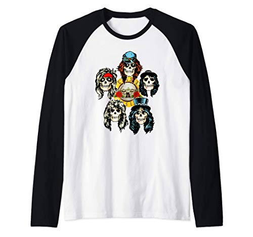 Adults Guns N' Roses Official Skull Heads Baseball Shirt, 3 Colors, Men and Women uo to 2XL