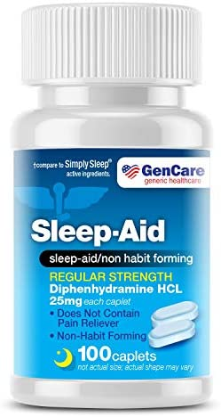 GenCare Sleep Aid Diphenhydramine 25mg 100 caplets Regular Strength Non Habit Forming to Fall product image