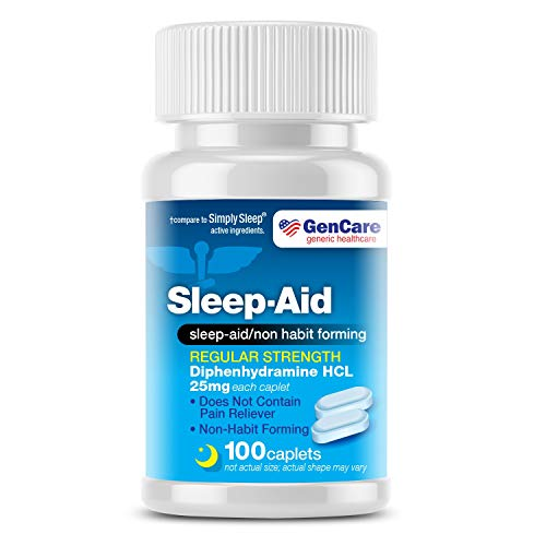 GenCare - Sleep Aid Diphenhydramine 25mg (100 caplets) | Regular Strength Non Habit Forming to Fall Asleep Faster & Sleep Deeper | Causes Drowsiness Take 1-2 Pills Before Bed | Generic Simply Sleep