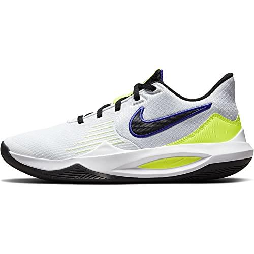 Nike Zapatos Precision 5 Código CW3403-100, blanco, negro y amarillo, 42.5 EU