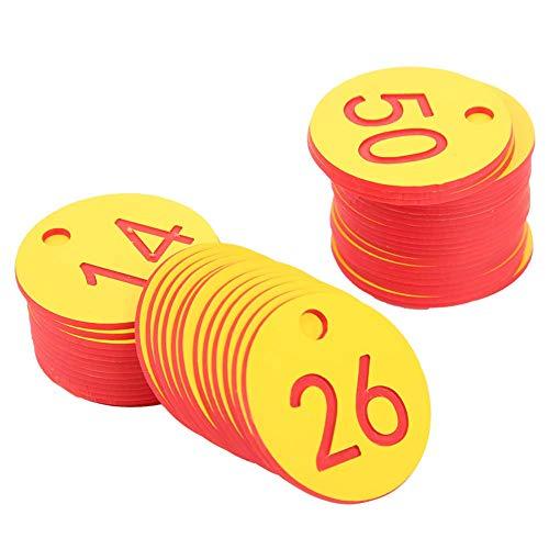 Etiqueta numerada, suministros de cría, etiqueta de número de granja duradera, para cría de animales, granja, apicultura, ganado (rojo, 1-50 / bolsa)