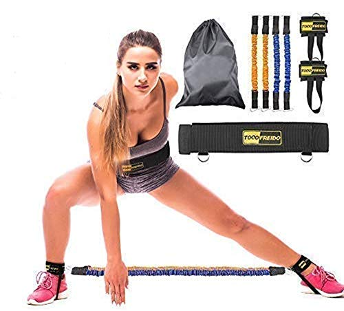 TOCO FREIDO Booty Resistance Bands Workout Program, Lift & Tone Your Perfect Butt, Vertical Jump Trainer with 4 Resistance Bands, Adjustable Waist Belt, Ankle Cuffs, Carry-on Bag