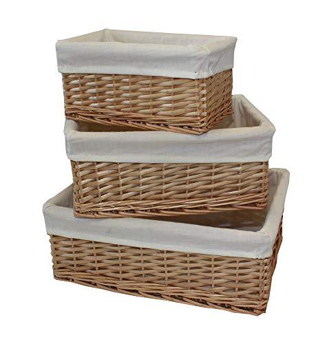 Home-ever - Juego de 3 cestas de mimbre para estante organizador