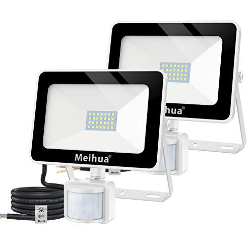 Meihua - Juego de 2 focos LED de 25 W para exteriores con detector de movimiento, 2500 lúmenes, foco LED exterior 6500 K blanco frío, foco LED IP66 resistente al agua, hotel, campo deportivo