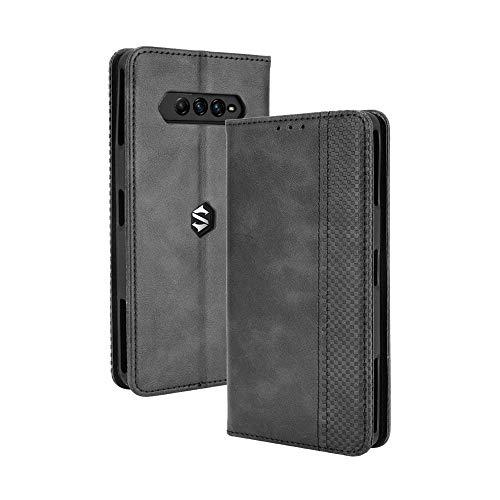 LAGUI Kompatible für Xiaomi Black Shark 4/ Black Shark 4 Pro Hülle, Leder Flip Hülle Schutzhülle für Handy mit Kartenfach Stand & Magnet Funktion als Brieftasche, schwarz