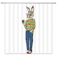 ファッションの流行に敏感なように着飾った漫画ウサギ楽しい動物浴室の窓の装飾のための生地のホックが付いているポリエステル防水シャワー・カーテン60X72in