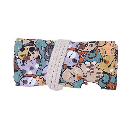 CUHAWUDBA Leinwand Bleistift Wrap, Reise Zeichnung Sü?E Katze Bleistift Roll Veranstalter für KüNstler, Bleistift Beutel Fall Inhaber für Buntstifte (Kein Bleistift Enthalten) (36-L?Cher)