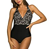 WIN.MAX Mujer Trajes de Baño Una Pieza V-Cuello Push-up Monokini Push-up Acolchado Adelgazante Bikini (B#Flores & Negro, EU40)