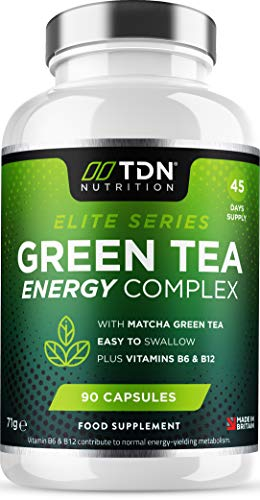 Green Tea Tablets for Energy Plus Matcha Tea - 90 Capsules - 1600mg Green Tea Complex - Keto Diet Friendly - Boosted with Turmeric & Black Pepper Extract - Plus Vitamins B6 & 12 for Normal Metabolism