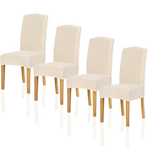 TIANSHU Fundas para sillas Pack de 4,Poliéster Elástica Fundas sillas Duradera Modern Bouquet de la Boda Hotel Decor Restaurante(Pack de 4,Marfil)