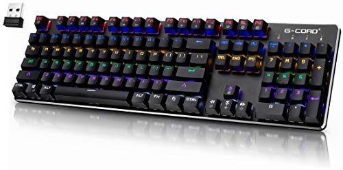 Wireless Gaming Keyboard Mechanical, G-Cord Wired Keyboard LED Backlit, 104 Keys Full Size, Aluminum Top Frame