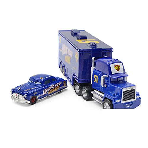 fashionmore Movie Cars McQueen Toys Fabulous Hudson Hornet Mack Hauler Truck & Racer Speed Racers Metal Toy Car 1:55 Loose Kid Toys