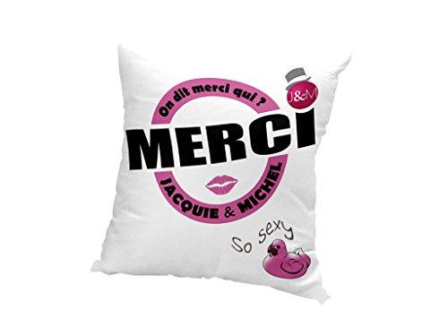JACQUIE & MICHEL 537538 Housse de coussin Motif On dit merci qui? Polyester Blanc 40 x 40 cm