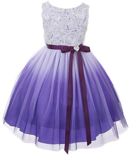 Rosetón Spring Easter Flower Girl Dress en Ombre Purple - 10