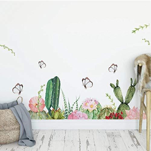 AnnQing Extraíble Mariposa Cactus Pegatinas de pared para sala de estar Dormitorio Decoración de pared Vinilo PVC Tatuajes de pared Arte DIY Murales Decoración del hogar 100x29cm