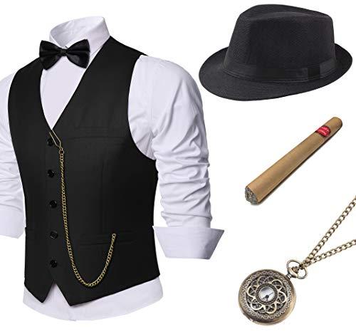 Coucoland 1920s Accessoires Herren Mafia Gatsby Kostüm Set inklusive Panama Gangster Hut Herren Weste Halsschleife Fliege Taschenuhr und Plastik Zigarre (Schwarz, XL)