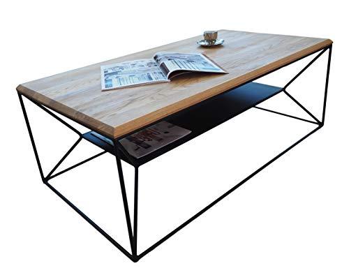 Lumarc Teramo - Mesa de salón de madera maciza de roble natural con diseño moderno industrial minimalista, roble rectangular, 110 x 60 x 40 cm (roble)