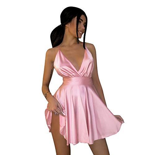 Vestido Skater de satén Boho para Mujer con Nudo Cruzado sin Espalda Ropa ceñida al Cuerpo Sexy Fiesta Clubwear Playa Streetwear M Rosa